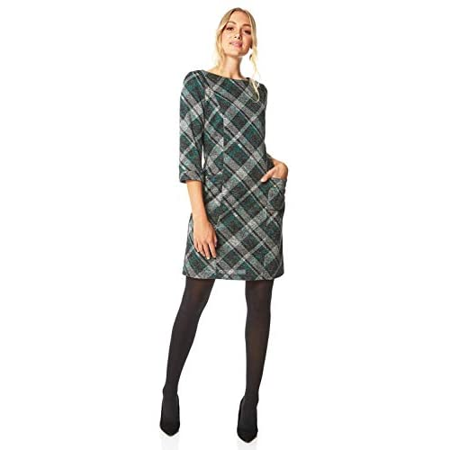 Roman Originals Women Check Shift Dress – Ladies Tartan Plaid Print Winter Smart Work Office Casual Formal Party Comfortable Tunic 3/4 Sleeve Knee Length Smock