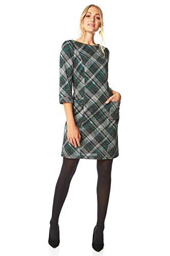 Roman Originals Women Check Shift Dress - Ladies Checkered Tartan Plaid Print Winter Smart Work Office Casual Formal Party Comfortable Tunic 3/4 Sleeve Knee Length Smock - Green - Size 14
