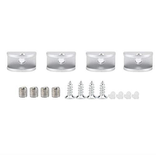 Paquete de 4 Soporte de estante para clip de fijación de clip de vidrio medio redondo Abrazadera Soporte para ventana Muebles de...