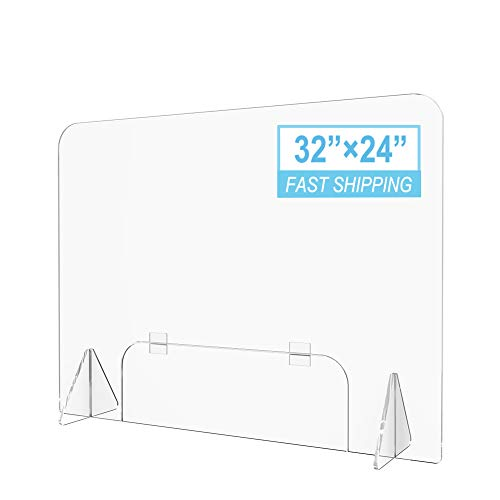 Plexiglass Sneeze Guard for Counter, Plastic Shield Cashier Barrier for Receptionists, Clerks, Estheticians, Checkout Counter 32'W X 24'H