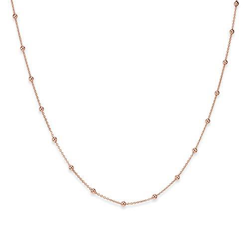 MATERIA Kugel Kette Damen Rosegold - 925 Silber Halskette für Frauen Mädchen rose vergoldet 60 cm nickelfrei K105-60