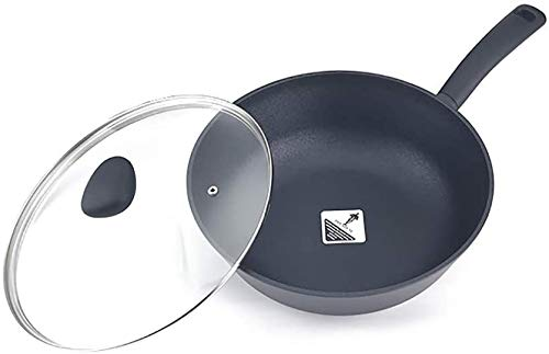 LBWARMB Casseruola in ghisa antiaderente Pan wok multifunzione per uso domestico wok a induzione a gas è adatto con coperchio 30 x 9,5 cm padelle
