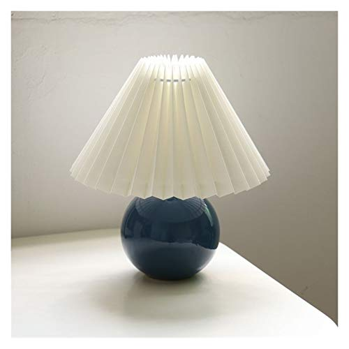 Lámpara de mesa Lámpara de escritorio Plisado lámpara de mesa de cerámica Ins bricolaje lámparas de mesa for sala de estar Deco casero linda con la lámpara LED tricolor bulbo Al lado de la lámpara Luz
