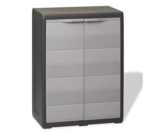 Zerone- Garden Storage Cabinet, Storage Box with 1 Shelf, Garden Storage Shed 65 x 38 x 87 cm