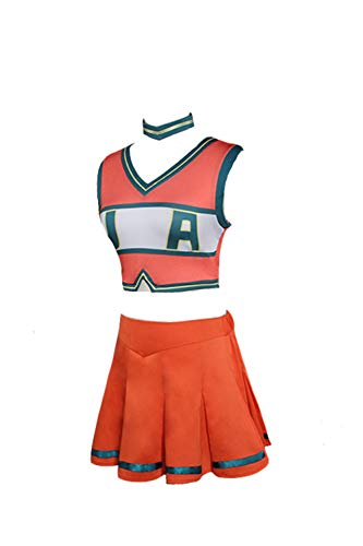 Helymore Donne Anime Cosplay Asui Tsuyu Costume da Cheerleading T-Shirt Cheerleader Senza Maniche di Ochaco Uraraka Gonna a Pieghe, S