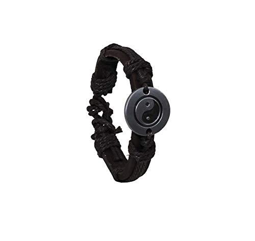 GS1 Pulsera de piel auténtica de acero Yin Yang 69, idea de regalo, art. 28152B
