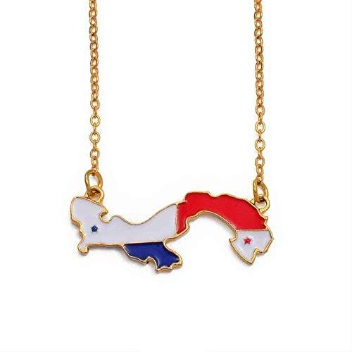 Collar de mapa de Panamá para mujeres, niñas, color dorado, adorno de mapa del país, joyería