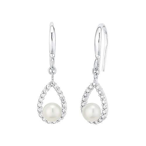 amor Ohrring für Damen mit Süßwasserzuchtperle, glänzendes Silber 925, Zirkonia