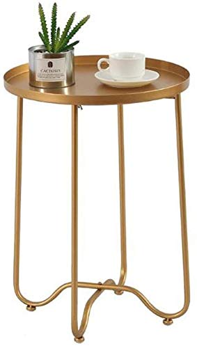 H-CAR Sofa Table,End Side Tables, Side Table Small Metal End Table Round Tray Foldable Accent Coffee Table for Living Room Bedroom (15.7'×22') Snack Table
