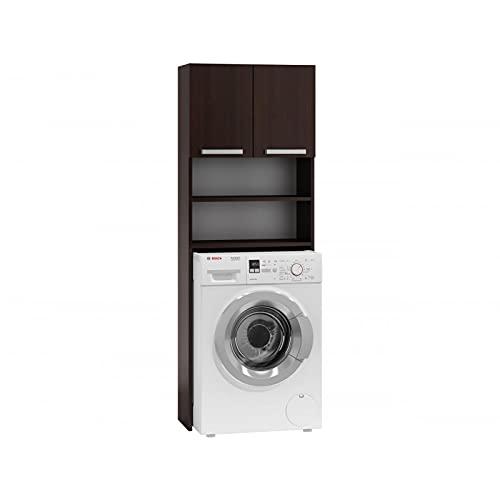 ADGO Pola Armario para lavadora, armario para un cuarto de baño, estante de baño, estante de lavadora, armario de baño, armario de lavadora, armario de lavadora, armario de baño, alto (wenge)