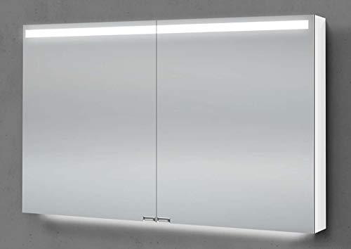 Intarbad ~ Spiegelschrank 90 cm integrierte LED Beleuchtung doppelseitig verspiegelt Aluminium IB5199