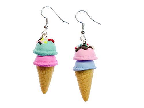 Miniblings Eis Waffeleis Eiscreme Ohrringe - Handmade Modeschmuck I Waffeleis Kugeleis Glace 2 Kugeln - Ohrhänger Ohrschmuck versilbert