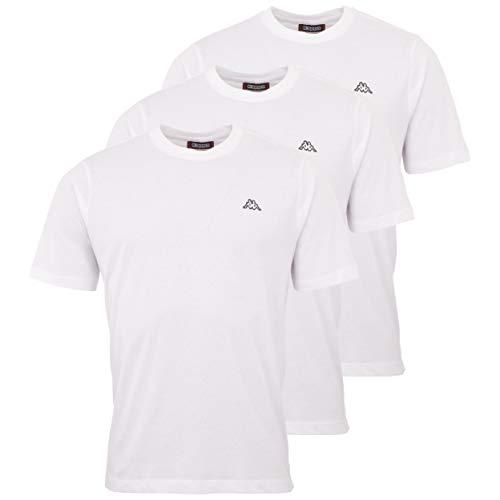 Kappa Vollar T-shirt voor heren, 3-delig, sport-shirt met ronde hals, voor sport en vrije tijd, regular fit
