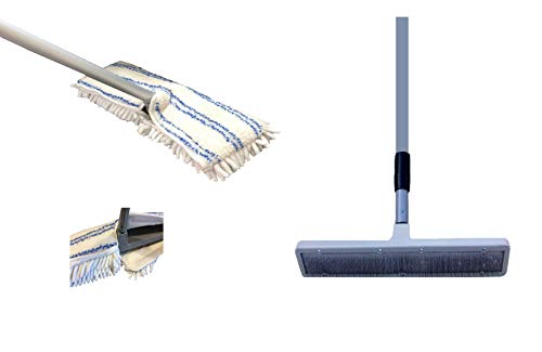 Quality Line Universal Carpet Rake plus Free Microfiber Mop Pad/Effective & Safe/User-Friendly/ Rug & Carpet Cleaner/Ergonomic & Unique Design/Features a 4 Ft Extendable Pole/Custom Fit/Wet Dry Floor Cleaning Pad/Premium Quality/Reusable