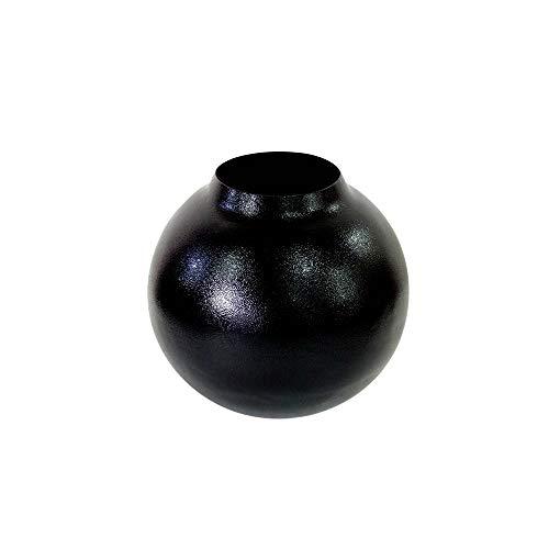 LaLe Living Vaas - Siyah - met gestructureerd oppervlak van ijzer in zwart, Ø15,5 x 14,5 cm als decoratieve tafeldecoratie of bloemenvaas in de woonkamer, kantoor en keuken