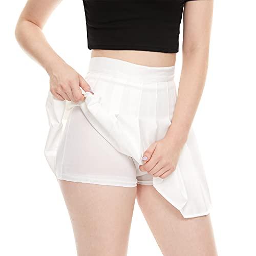 Girls Women High Waisted Plain Pleated Skirt Skater Tennis School Uniforms A-line Mini Skirt Lining Shorts(Large White)