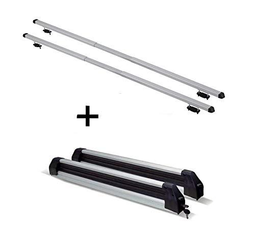 VDP Portaesquís Silver Ice extensible + Baca Rapid compatible con Skoda Octavia III Combi (5E) (5 puertas) 13-16