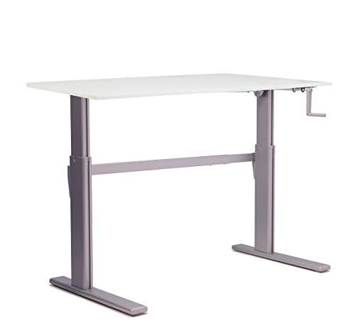 Worktrainer Manuell Verstellbarer Sitz-Steh-Schreibtisch ALUFORCE 110 mit Querstange für zusätzliche Stabilität Aluminium Rhamen (120 x 80 cm)