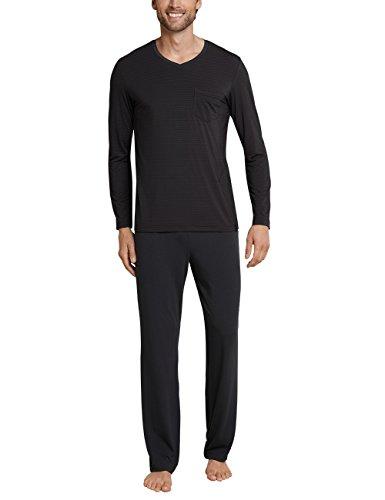 Schiesser Herren Anzug lang Zweiteiliger Schlafanzug, Grau (Anthrazit 203), Small (Herstellergröße: 048)