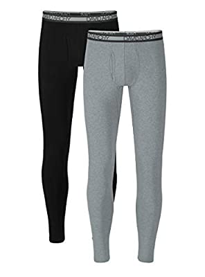 DAVID ARCHY Men's Winter Warm Stretchy Cotton Fleece Lined Base Layer Pants Thermal Bottoms Long Johns with Fly 2 Pack (M, Black/Heather Light Gray)