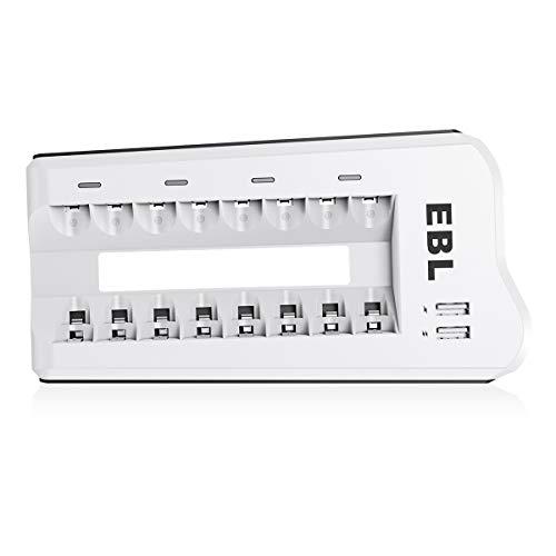 EBL Akku Ladegerät AAA AA NI-MH, NI-Cd Akkus und USB Geräte, 8-Ladeplatz Batterie Ladegerät Batterieladegerät mit LED Anzeige und 2 USB Port