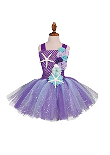 SLSCL Sirena Ariel Princesa Fiesta Boda Niña Vestidos Muchacha Ropa Ninos Tutú Flores Elegante con Banda para Pelo Halloween