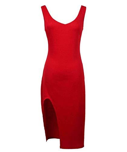 Vestidos De Fiesta Vestir Dress Mujer Niña Vestidos De Mujer Negro Sexy Elegante Rojo con Cuello En V Fiesta Moda Vestidos De Mujer-Red_L