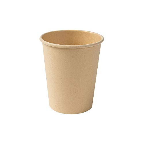 BIOZOYG Taza Bio degradable Desechables I Tazas Desechables Tazas de Papel con Capa de PLA I 50 Piezas de Taza para Llevar café I Taza de Papel marrón sin blanquear 200 ml 8 oz