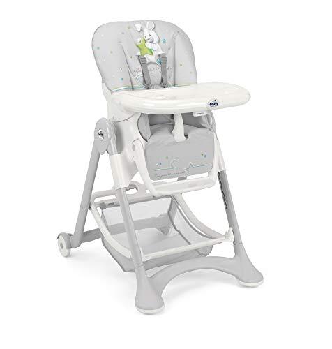 CAM Hochstuhl CAMPIONE | Baby-Stuhl mitwachsend & vielseitig verstellbar inkl. Tablett | Abwaschbares Kissen | Weiche Polsterung & verstellbarer Gurt | Kinder-Hochsitz - Made in Italy (Kaninchen)