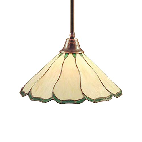 LITFAD Floral Drop Ceiling Hanging Lighting Tiffany Style Simple Stained Glass Pendant Light LED One-Light Pendant Lamp Chandelier for Kitchen Island Dining Room Restaurant Hotel - Green