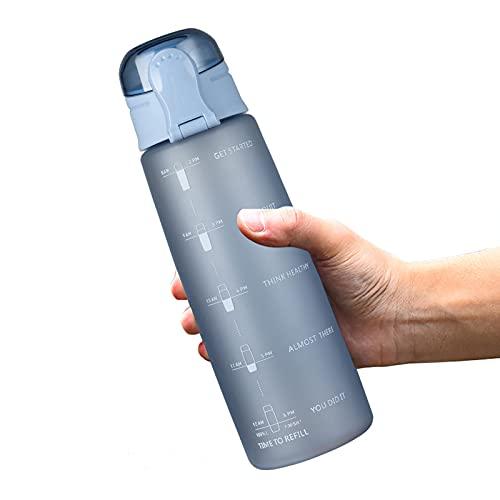 Botella De Agua Motivacional De 32oz, Botella De Plástico para Beber con Marcador De Tiempo Y Paja De Motivación, Recuérdete Que Se Hidrata a Tiempo, BPA Free Tritan I