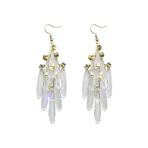 FEARRIN Pendientes de aro Estilo hipérbole Pendientes de Gota de Resina Fina Coreanos Largos de Modelado de Gotas de Agua Pendientes de Mujer Pendientes de joyería para Mujer Ohrringe
