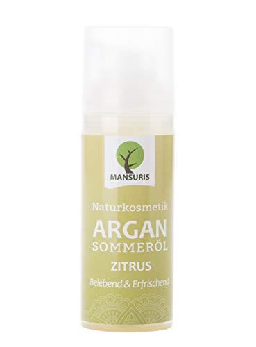 Bio Argan Sommeröl Zitrus - Körperöl wirkt straffend und spendet Feuchtigkeit gegen trockene, unreine Haut - 100% Naturkosmetik, Hautöl mit Zitronen-Duft für eine Anti Aging Pflege 50 ml