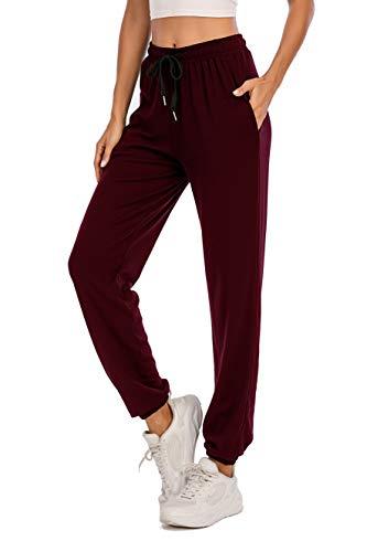 Pantalones Deportivos para Mujer para Yoga Running Fitness Jogging Danza Pijama de Interior Largos Chándal Casuale Vinotinto XXL