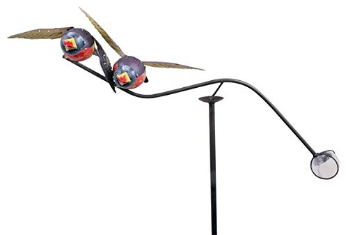 Pommerntraum ® | Windspiel - Gartenpendel - Gartenstecker - Gartendeko - Garten Kunst ** verliebte Blaue Vögel ** mit Glaskugel
