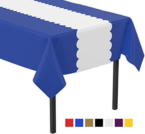 Plastic Table Runner Scallop White Disposable Table Runners for Parties 14x108 inch Tablecloth product image