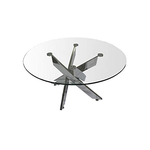 Best Master Fairbanks Round Clear Glass Top Coffee Table with Silver Legs
