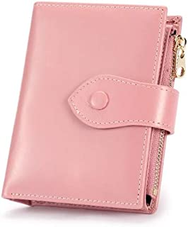 Jamarna Wallet Female Purse Red Small Slim Wallet Female Genuine Leather Zipper Coin Pocket Card Holder Oil Wax Purse for Women