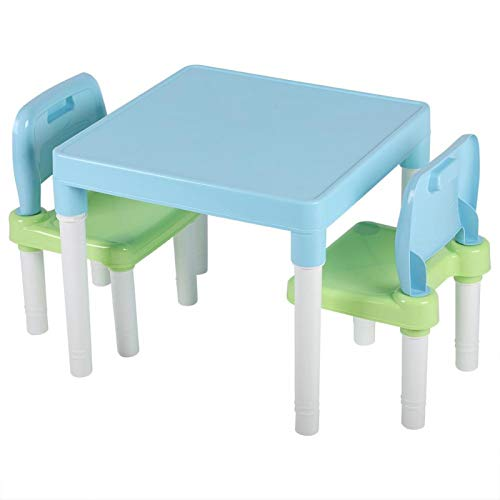Emoshayoga Juego de Mesa de Pintura para niños, Escritorio de Estudio y Aprendizaje, Juego de Mesa y Silla de plástico PP Duradero, ecológico para el jardín de Infancia(Blue-Green)