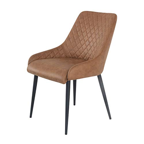 Damiware Bella Stuhl | Design Wohnzimmerstuhl Esszimmerstuhle Bürostuhl mit Stoffbezug | (Cognac)