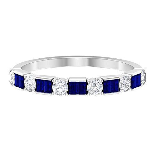 Anillo de zafiro azul en forma de baguette, anillo de 1/4 quilates con piedras preciosas azules, anillo redondo de diamante HI-SI, 14K Oro blanco, zafiro azul, Size:EU 44