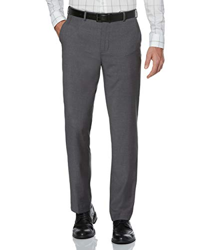 Perry Ellis Men's Portfolio Modern Fit Flat Front Bengaline Pant, Fog Heather, 36x32