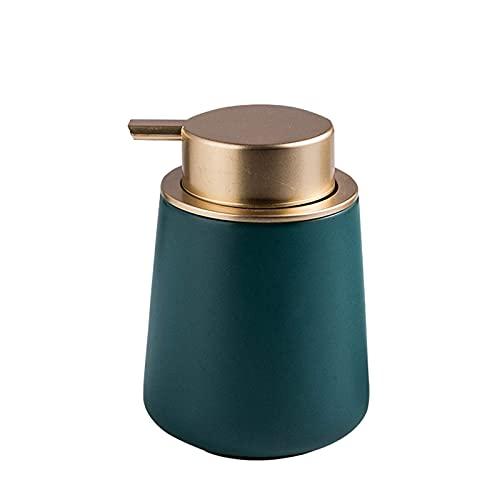 aedouqhr Bomba dispensadora de jabón en Espuma de cerámica, Botellas Verdes Impermeables Hechas a Mano, dispensador Recargable Manual de 400 ml, Puede almacenar Cualquier loción y jabón líquido, fáci