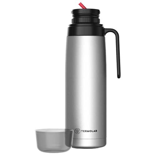 Thermos termico da 1 litro in acciaio inox con beccuccio versatore, l'originale e storico, per caffè, tè o acqua, thermos per viaggi, ufficio, campeggio, spiaggia e montagna