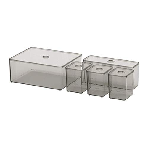 IKEA Godmorgon 504.002.70 - Caja con tapa (5 unidades), color ahumado