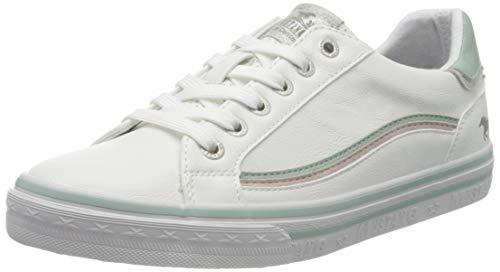 MUSTANG Damen 1354-307 Sneaker, Weiß (Weiß/Mint 11), 40 EU