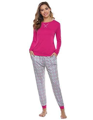Hawiton Pijamas Mujer,Pijamas de algodón,Mangas Larga Camiseta y Pantalones de Lunares ondulados Conjunto de Ropa de Dormir 25 Piezas,Tallas Grandes, Azul,L