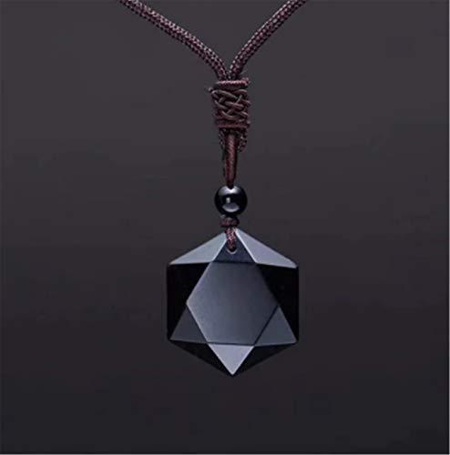 Xikangshun Amuleto De Hexagrama Sagrado - Obsidiana Negra Tibetana, Collar con Colgante De Forma De Hexagrama De Piedra De Obsidiana Negra Natural (Cuerda marrón)