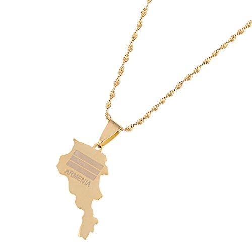 BR Gold Jewelry Halskette mit Anhänger aus Edelstahl mit Landkarte von Armenien und Landkarten