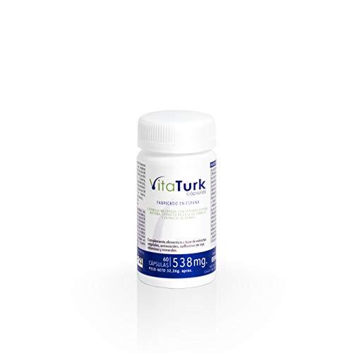 Vitaturk - 60 cap. Vitaminas Saw palmetto | Inhibidor de DHT causante alopecia androgenetica | Contiene Biotina, Zinc, Ginkgo biloba entre otros | FABRICADO EN ESPAÑA |